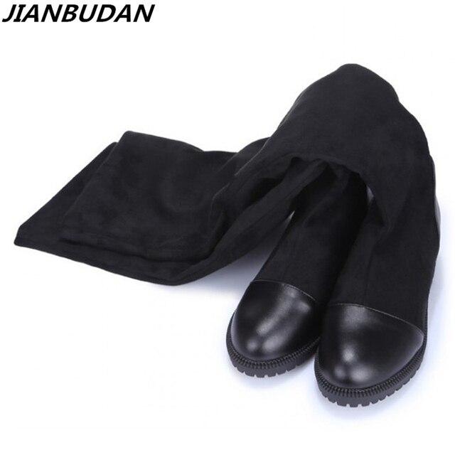 Kích thước 35-43 Thu Đông nữ cao cấp Giày chất liệu thun nền tảng Giày bốt nữ 2019 mới đầu gối cổ cao giày Boot Cổ cao