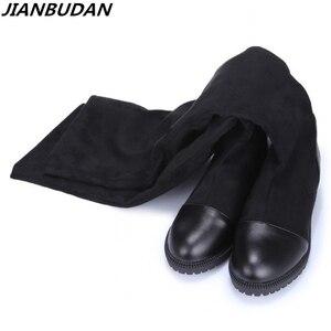 Image 1 - Size 35 43 Herfst vrouwen hoogwaardige schoenen elastische materiaal platform vrouwen laarzen 2019 nieuwe knie laarzen hoge laarzen met hoogte