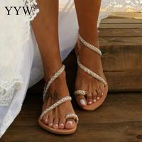 Boho Summer Shoes Flat Pearl Women Sandals Comfortable String Bead Slippers Women Casual Beach Sand Holiday Sandals Size 35 43