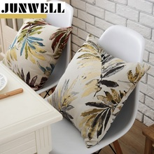 Junwell Polyester Jacquard Cushion Leaves Pillow Sofa Office Back Braided Cushion Coussin Cojines Decorative 45x45cm Square