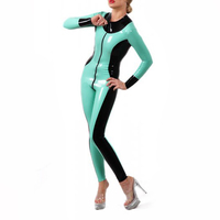 Sexy Latex Tights Catsuit Contrast Color Lake Blue With Black Catsuit Latex Bodysuit 2 Ways Front Zipped Through Crotch