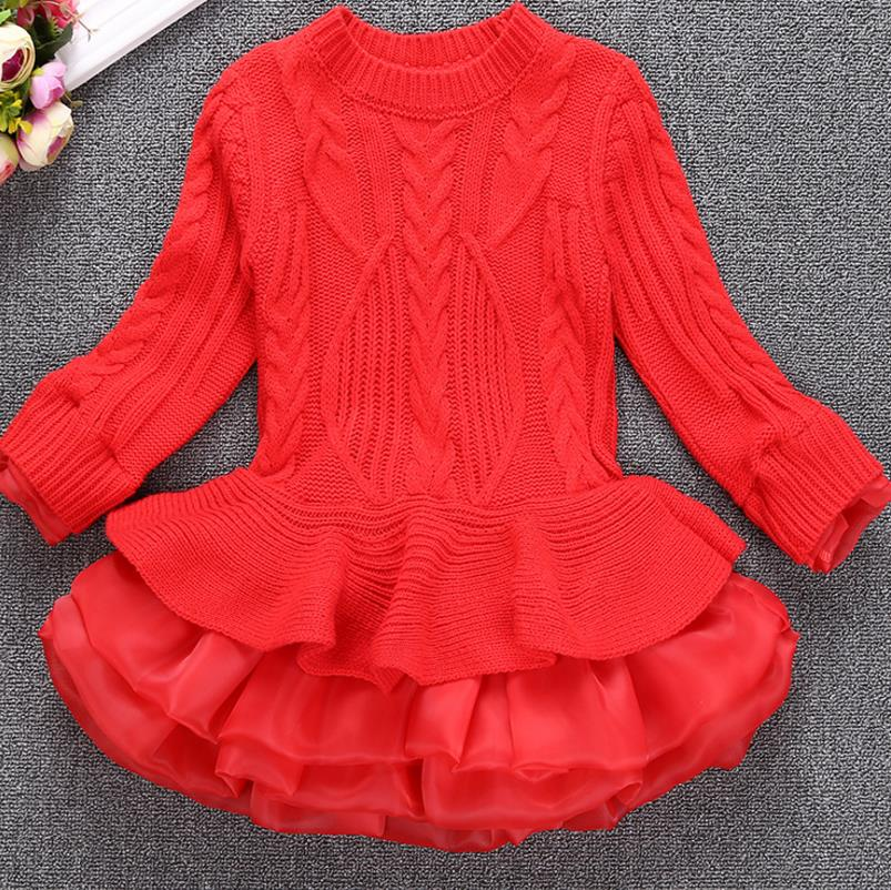 2018 Warm Girl Dress Christmas Wedding Party Dresses Knitted Chiffon Winter Kids Girls Clothes Children CLothing Girl Dress korea lace knitted sweaters warm dresses winter baby wear clothes girls clothing sets children dress child clothing kids costume
