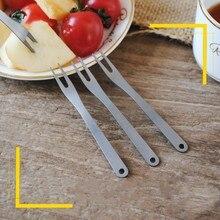 2pcs/set outdoors titanium Fruit Fork Set Eco Friendly Kitchen fruit stick Dessert Forks tableware Cooking Tools