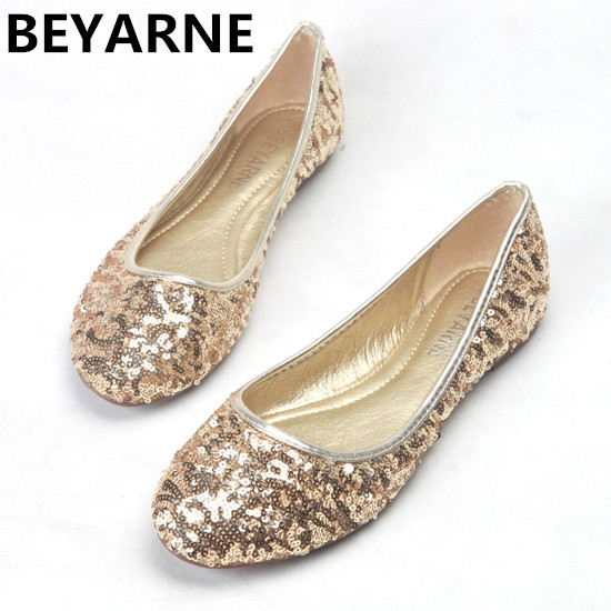 fa7805130731 BEYARNE New Fashion Lady bling bling Flats Shoes for drive round toe woman  ballet shoes Women wedding Shoes big Size 35-41 gold
