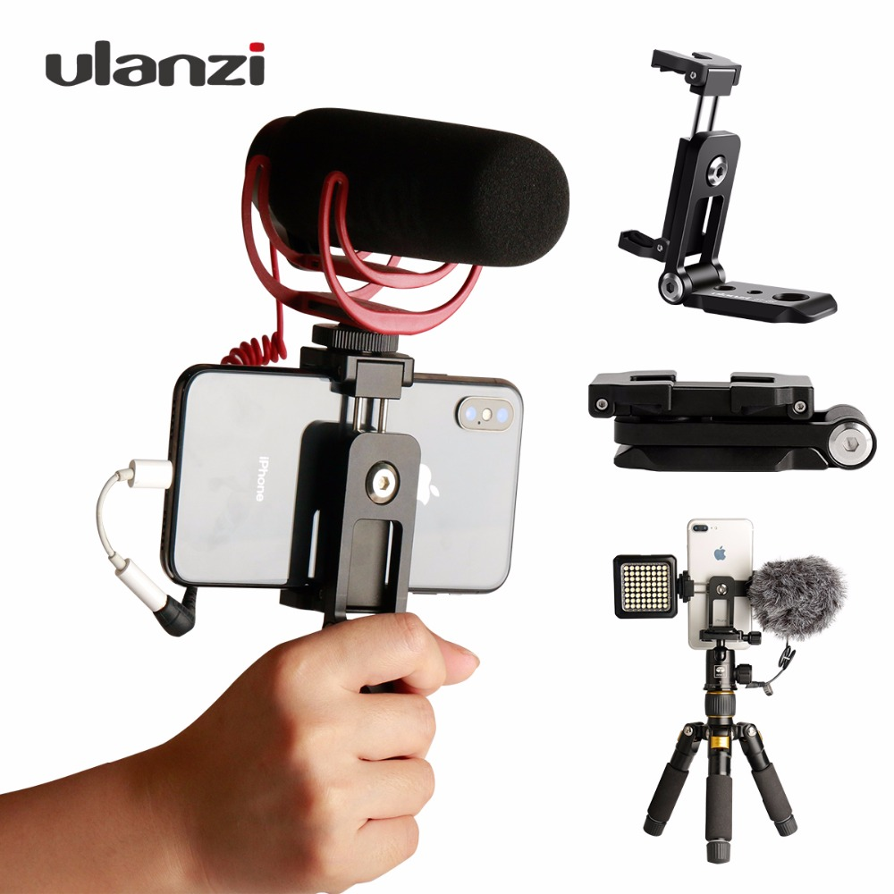 ST-05 All In 1 Foldable Phone Tripod Mount Clipper W Hot Shoe For Microphone Vertical Video Shoot Tripod Clamp For IPhone XS X