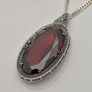 Image 2 - Серебряный кулон Szjinao для женщин, красный гранат, свадебный подарок для гостей, Настоящее серебро 925 пробы, Овальный драгоценный камень, Роскошные ювелирные украшения