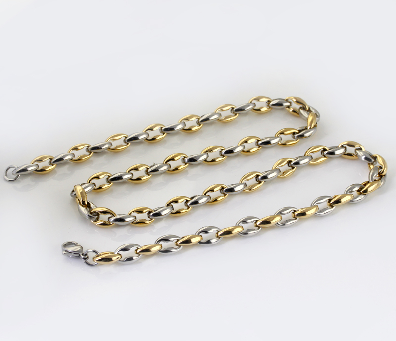 Wholesale Retail! 55cm*7.5mm 60g Stainless Steel Silver Gold color Rolo Chains Neklace For Men/ Boy, Lowest Price Best Quality
