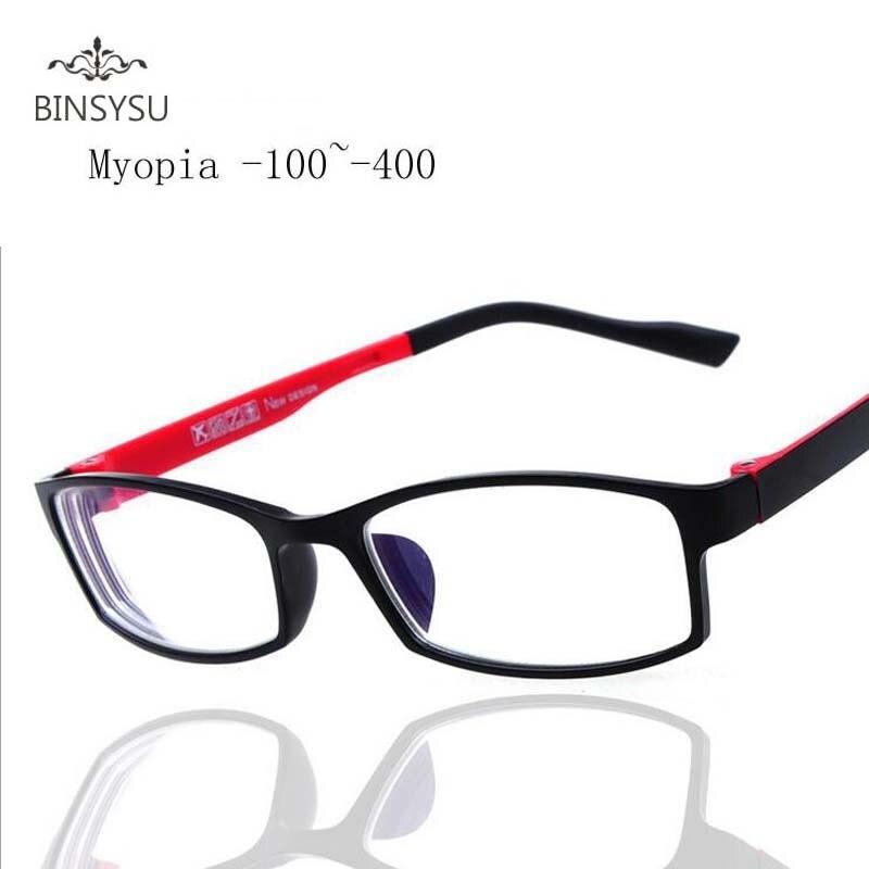 Fini myopie lunettes Myopes Miroir Rouge Ou Noir De Mode En Plastique cadre Myopie Lentille Degré-1-1.5-2-2.5-3-3.5-4