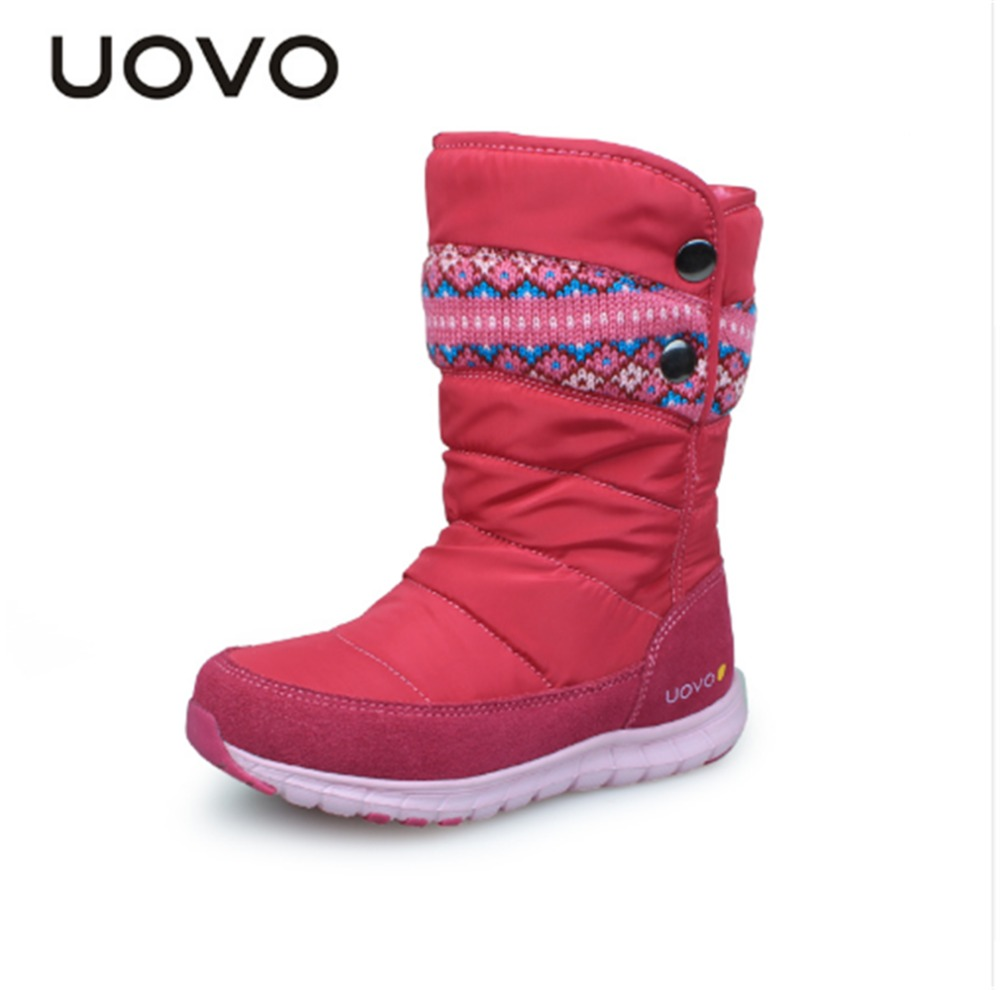 Hot Sale!UOVO 2018 New Arrival Winter Kids boots, Warm Fashion Girl Shoes, Plush Non-slip Snow Boots for Girls.Size 27-37 hot sale open front geometry pattern batwing winter loose cloak coat poncho cape for women