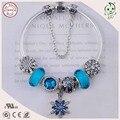Boa Qualidade Popular Azul Estilo Europeu 925 Real Série Azul Do Floco De Neve de Prata Charme Pulseira