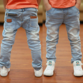 2016 Spring newest fashion style white boys jeans soft material fit for age 3 to 12 years old children pants  B135