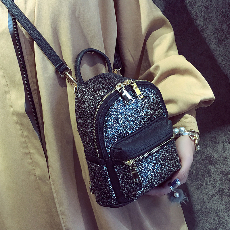 94f9600388 2019 Mini Women Back Bag Fashion Small Back Pack For Teenage Women's  Sequined Pu Leather Backpack Children Backpacks 422 -in Backpacks from  Luggage & Bags ...
