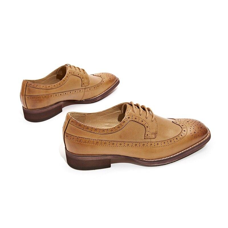 BeauToday Sapatos Brogue Wingtip Depilação de Pele De Carneiro Couro Genuíno Das Mulheres Flats Lace Up Dedo Do Pé Quadrado Sapatos Femininos Feitos À Mão 21098 - 3