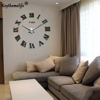 Home Decor Large Roman Mirror Quartz Clocks 3D Real Big Wall Clock Rushed Mirror Sticker Living Room DIY Wall Clock Watch CF