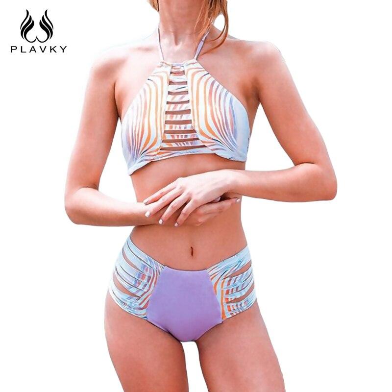 2017 Sexy Femenina Gradiente de Rayas Biquini Vendaje de Tiras Swim Traje de Bañ