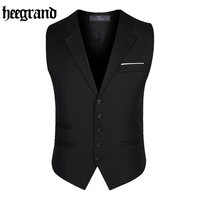 HEE GRAND 2017 Men Pockets Waistcoat Slim Suit Vests Formal Outwear High Quality British Style Blazer Vests MWB220