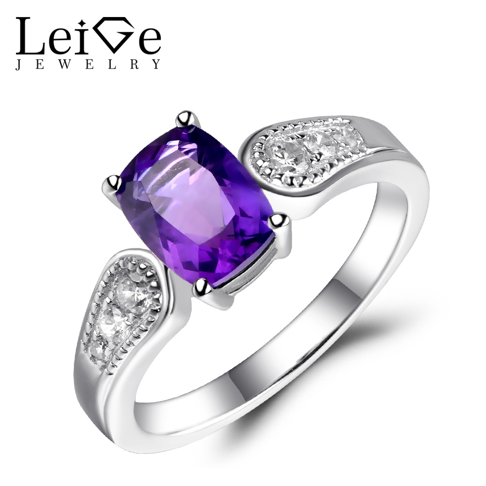 Leige Jewelry Amethyst Ring Natural Sterling Silver Purple Gemstone Jewelry Cushion Cut Engagement Ring Wedding Rings for Women leige jewelry natural amethyst ring purple gemstone oval shaped wedding engagement rings for women sterling silver 925 jewelry