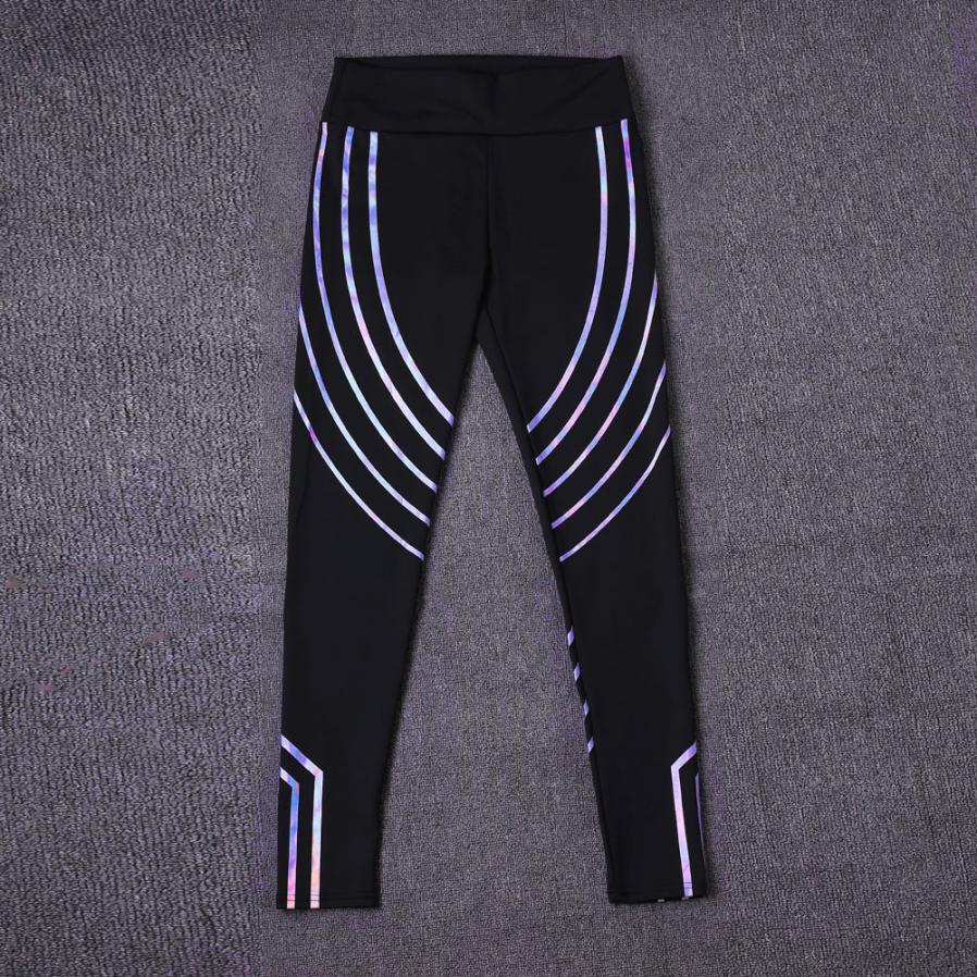 Laser Reflective Women Fitness Leggings  High Waist Women Workout Leggings Laser Glow Stripe Casual Fitness  Leggings  Push Up