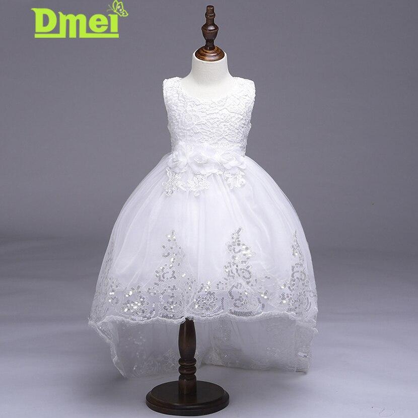 Dmei Girls Dress 2018 Summer Children's Clothes Flower Girl Dress White Sequin Princess Tutu Party Wedding Dresses For Girls