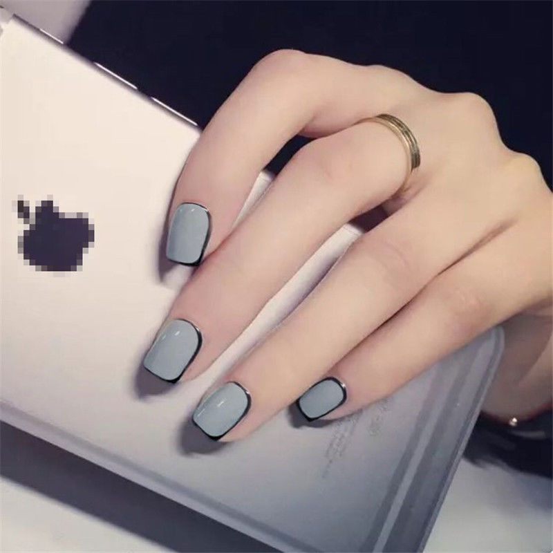 Blue Black Short Acrylic French Artificial Nail With Glue