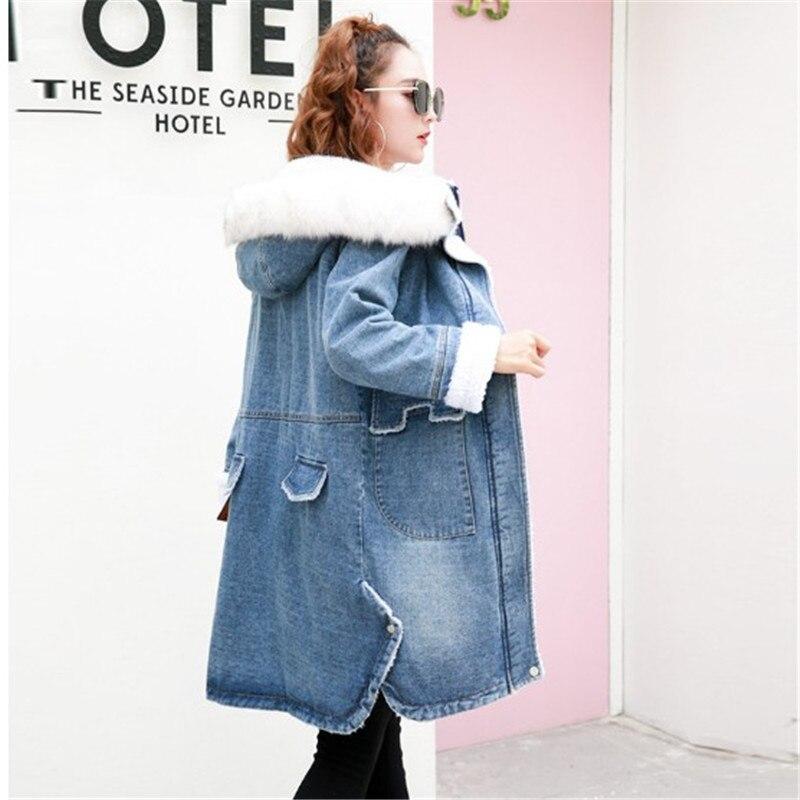 Blue Femelle vent Veste Taille Plus Manteau Ailooge Femmes Grande Base D'hiver Dames Jeans Automne Coupe De Bomber Denim Avec Printemps Capuche WqzRWnx48