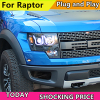 Car Headlights 2008 2015 For Ford F150 Raptor LED U type Angel Eyes HeadLight Black Color LF Headlamp