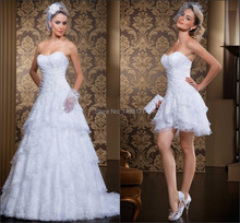 New Designer 2 in 1 wedding dress gown 2015 Sweetheart Off the Shoulder Sleeveless Chiffon Lace Bridal Gown Vestido Casamento vestido 2015 2