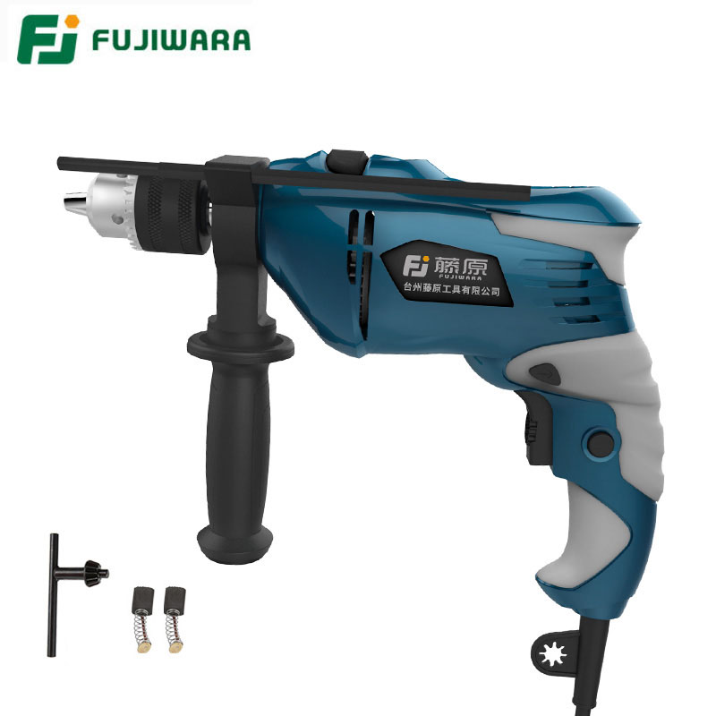 FUJIWARA 710W 220V 50HZ Electric Impact Drill Household Hand-held Hammer Wall Drilling Woodworking Drill multi purpose impact drill for household use la414413 upholstery drilling wall percussion impact drill set power tools 220v 810w
