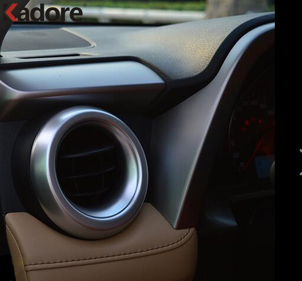 Pour Toyota RAV4 RAV 4 2016 2017 Air Vent Couvercle De Sortie Garniture ABS Mat Anneau Décoration Moulage Car Styling Auto accessoires 2 pcs