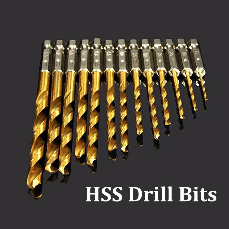 13pcs 1.5-6.5mm HSS Titanium Coated 1//4 Inch Hex Shank Twist Drill Bit Set tool