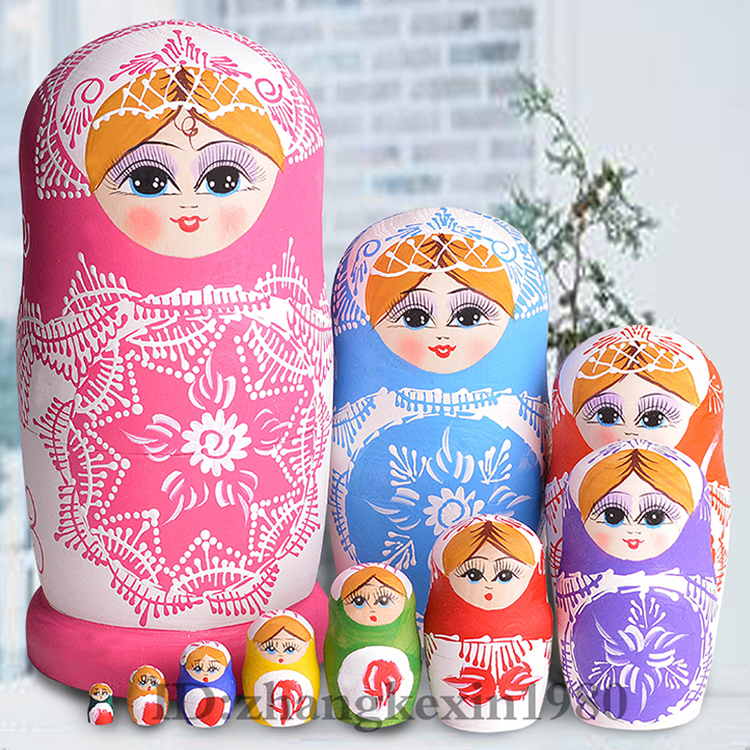 22cm 10Layer Wooden Matryoshka Christmas Gifts Doll Pink Wooden Russian Nesting Dolls Gift Matreshka Handmade Crafts for Girls