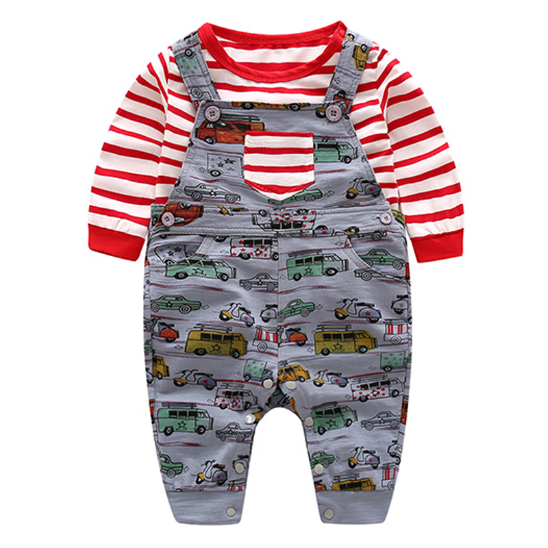 Baby Clothing Set Red And White Striped Cotton T-Shirt + Cars Jumper 2pcs Children Suit 2018 Autumn Soft Kids Long Sleeves Sets