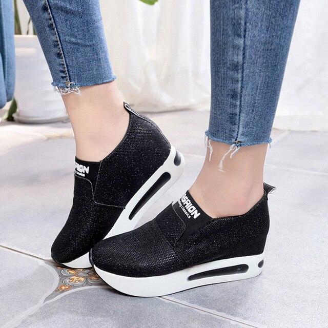 Kobiety płaskie buty z grubą podeszwą Slip On kostki buty na co dzień platformy buty sportowe T80726