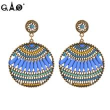 Фотография Stud Earrings for Women Bohemian Round Earings Female Fashion Jewelry 2017 Gold-color Resin Femme Ear Studs Bijuteria Feminina