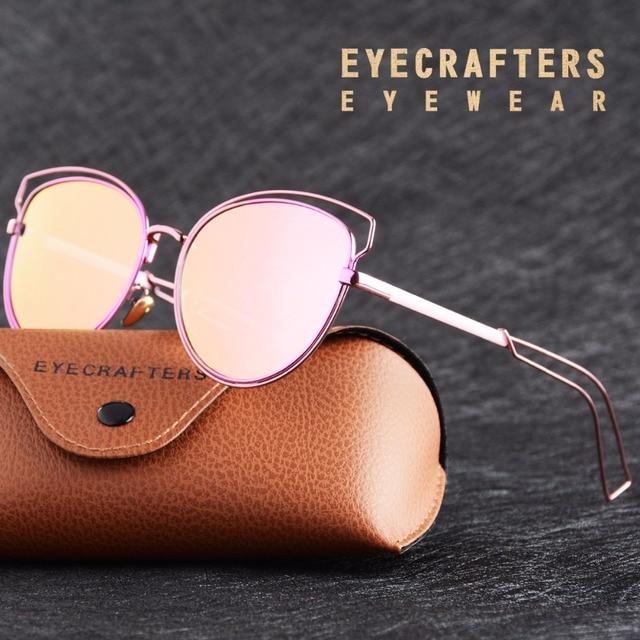 0f87708b0e Eyecrafters Metal Cat Eye Polarized Sunglasses Womens Vintage Retro  Mirrored Sun Glasses Brand Designer Mirrored Eyewear