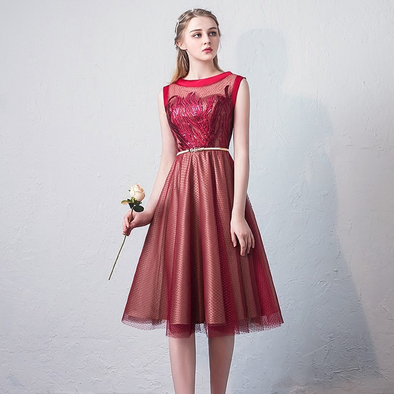 Beauty Emily   Cocktail     Dresses   Elegant Lace Illusion Embroidery Party   Dress   Sleeveless Sequined A-line Zipper Back Formal Gown