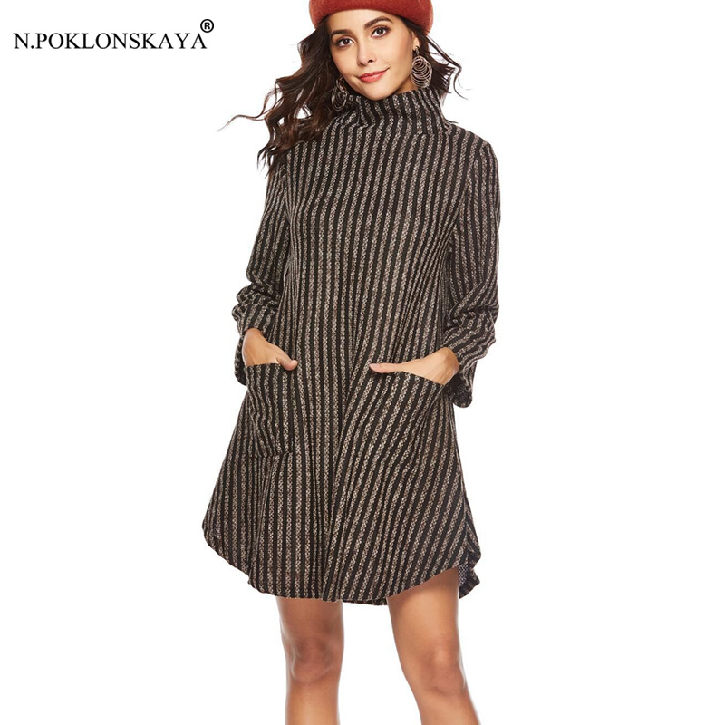 Fashion Designed Women Turtleneck Autumn Winter Dress Striped Loose Casual Dresses Pockets Thick Warm Dress Mini 2018 Vestidos