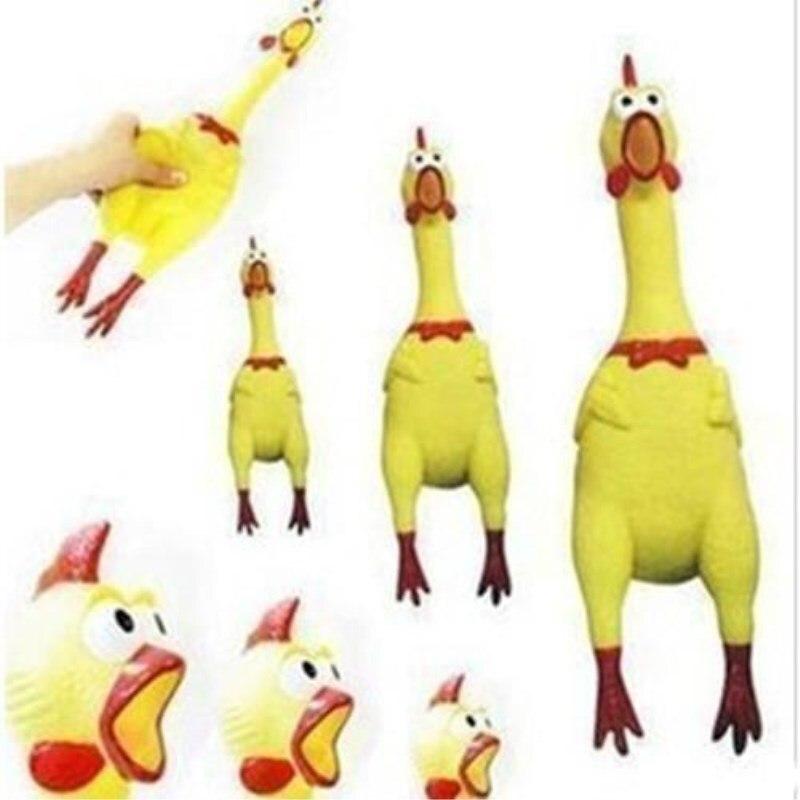 Новинка 17 см игрушки для собак желтая кричащая резиновая курица пищалка для домашних животных жевательный подарок-1