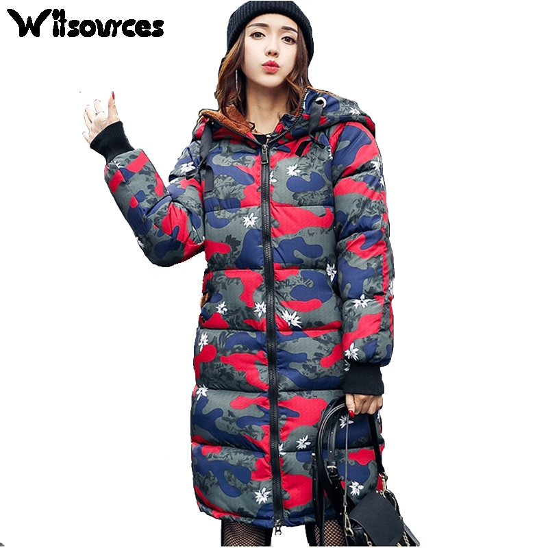 Witsources women Winter parkas Camouflage print cute hood plus size  oversize cotton padded jacket outwear coats SP133