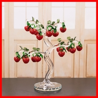 Transparent Chirstmas Tree Hangs Ornaments Crystal Glass Apple Cherry Miniature Figurine Home Decorations Figurines Crafts Gifts