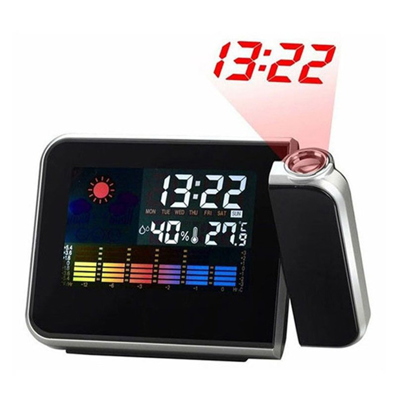 LCD Alarm Clock With Time Projection Snooze Function Humidity Thermometer Calendar Display Digital Desk Clocks Led Projector S30