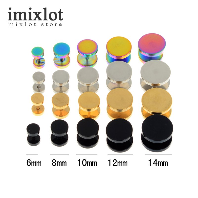 Imixlot 2Pcs 4 Colors Surgical Steel Fake Cheater Ear Plugs Gauge Earrings Body Jewelry Pierceing 6-14mm image