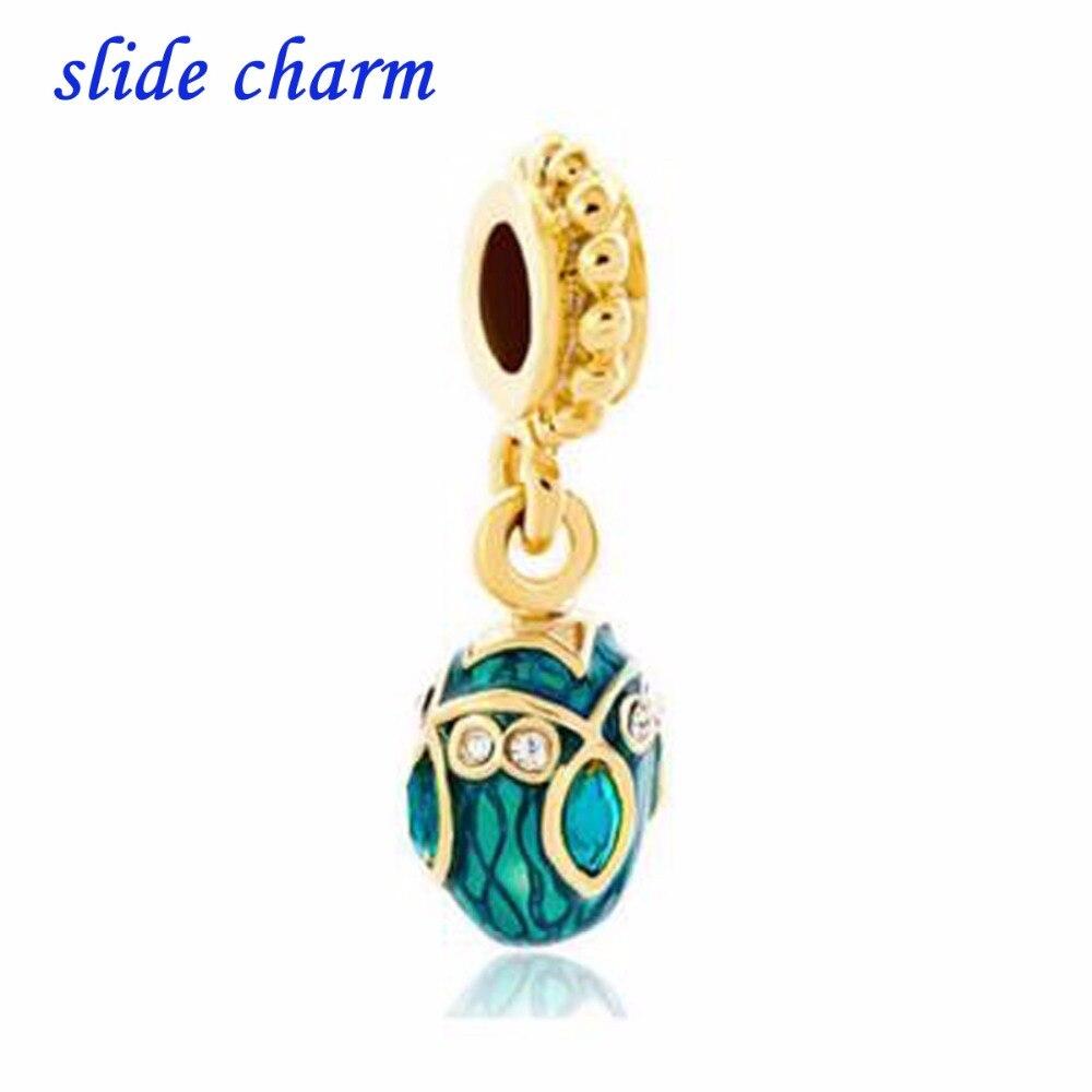 slide charm Free shipping blue enamel white flowers red crystal oval pendant beads fit Pandora charm bracelet