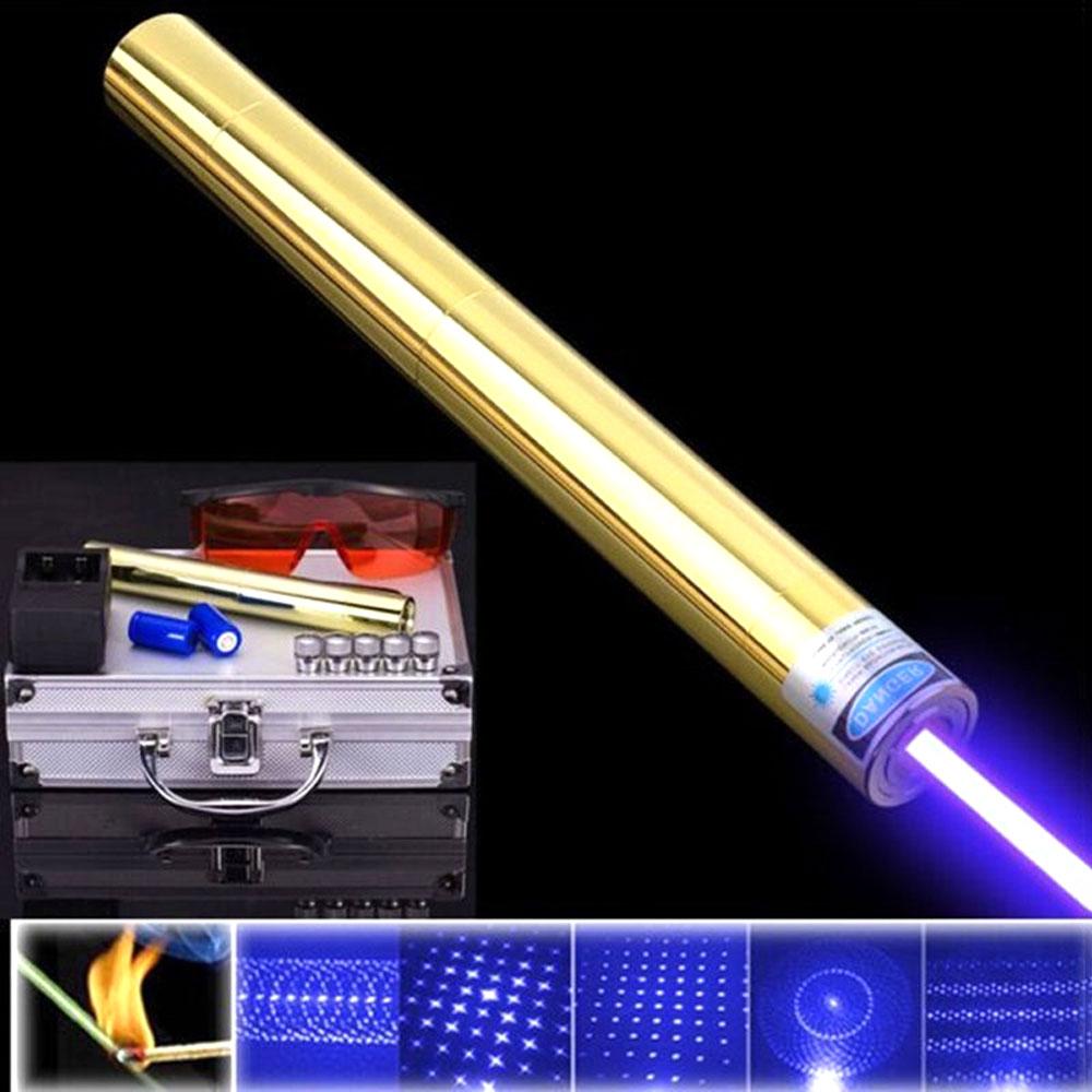 Alta potência todo o laser azul de cobre mais poderoso laze sight ponteiro 450nm1000m focalizável queimar fósforo vela aceso cigarro