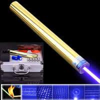 Láser azul cobre de alta potencia el más potente puntero laze sight 450nm1000m enfocable quemadura fósforo vela encendido cigarrillo