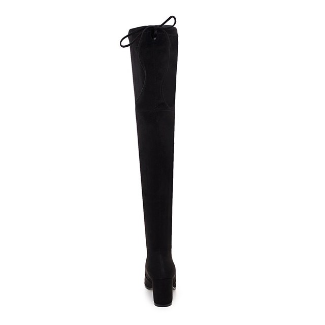 QUTAA 2018 Ladies Autumn/Spring Shoes Square High Heel Women Over The Knee Boots Scrub Black Woman Motorcycle Boots Size 34-43 2