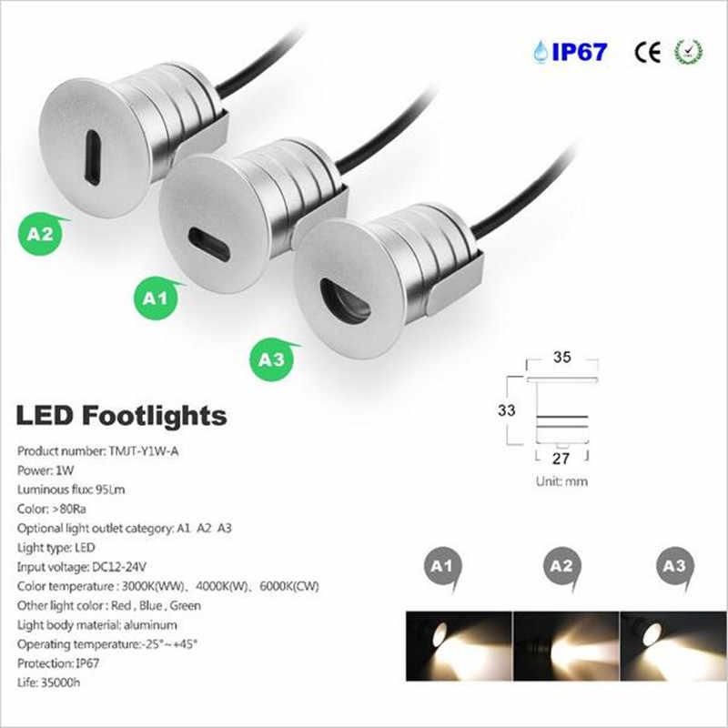 Бесплатная доставка CREE светодиодный 1 Вт похоронен лампы LED прожектор IP67 открытый Водонепроницаемый светодиодный подземный свет шаг для лестницы и пола палубы ingroun лампы