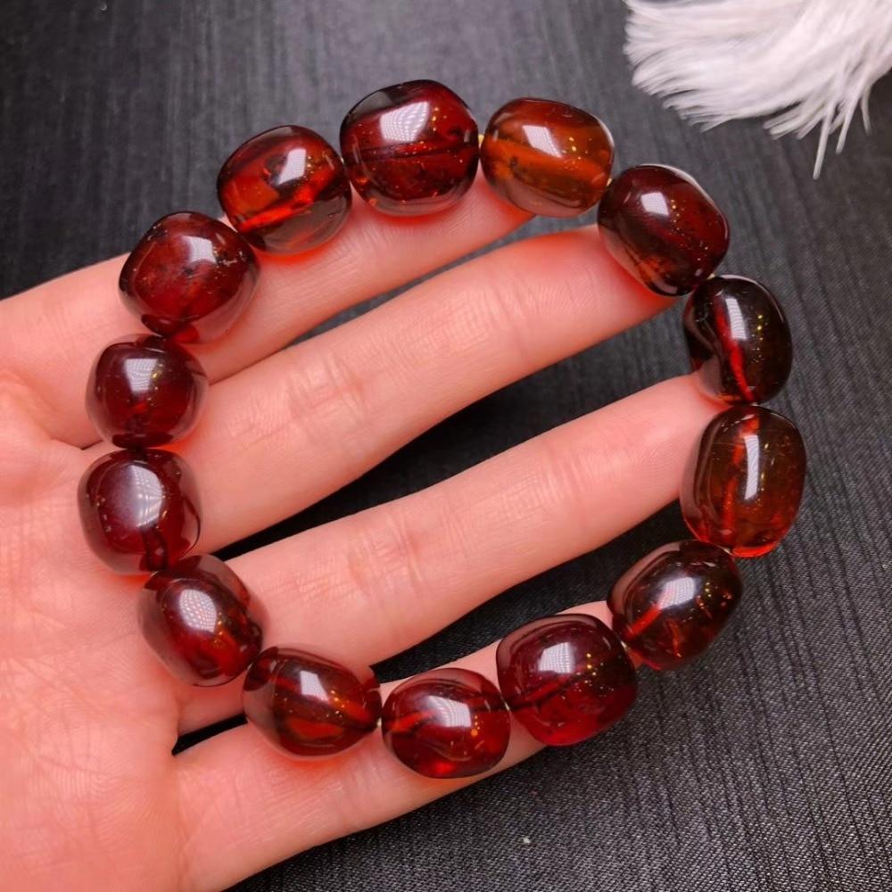 16x12mm 100% Genuine Bracelets Natural Amber Blood Red Gemstone Woman Man Healing Oval Beads Bracelet Drop Shipping AAAAA