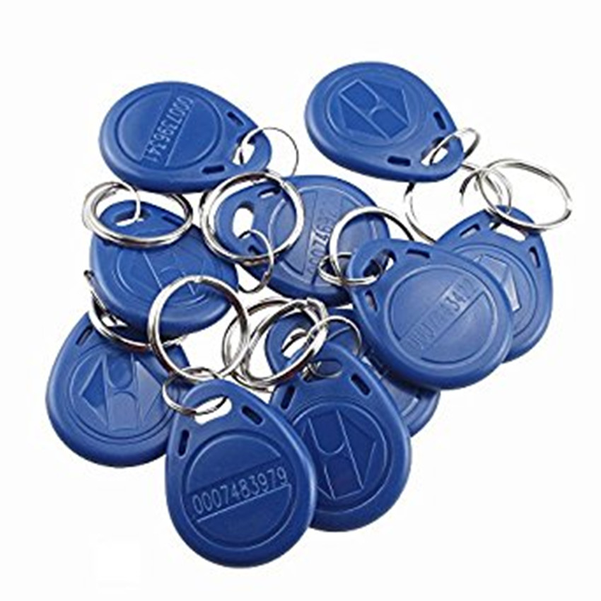 JCWHACM 50pcs 125KHz Mini RFID Card/Keyfob for Access Control System TK4100 ABS Waterproof Blue Keychains Key Tags 50pcs lot waterproof abs rfid frequency 13 56mhz re writable keychains keyfobs for registration certification access control