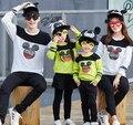 Familia equipada de 2017 otoño madre hijo papá mamá niños clothing camisetas parejas trajes de manga larga con capucha